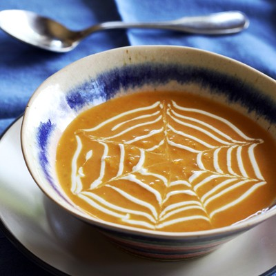 Pumpkin Post: Spiderweb Pumpkin Curry Soup