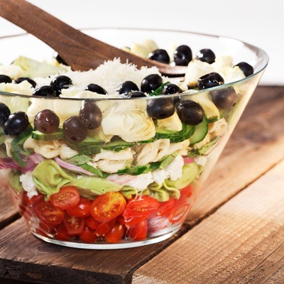 Layered Mediterranean Tortellini Salad: the New 7-Layer Salad